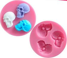 Halloween Skull mini Fondant Silicone Baking / Chocolate / Candy Mold - 3 Cavity