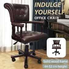 Vintage Genuine Leather Chair Office Arm Brown Executive