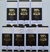(7) Lindt Excellence 99% Cacao Dark Chocolate Bars- 350 grams total. Very Fresh!