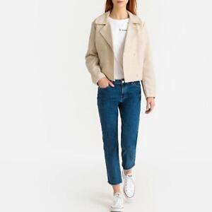 La Redoute Cropped Biker Jacket in Tweed Effect with Pockets beige size 20