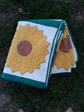 HANDMADE Sunflower Quilt, Vintage Machine Sewn Yellow Twin Blanket Picnic summer