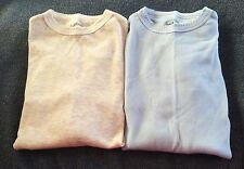 2 Long Sleeve Thermal Undershirts by Basic Eqpt 100% Cotton Sz S Lte Blue/Cream