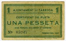 ☆ SPAIN CIVIL WAR 1937 • TARREGA 1 PTA. MUNICIPAL ☆ GUERRA CIVIL ESPAÑOLA ☆C3092