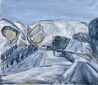 Expressionist B. Jensen Winterlandschaft in den Bergen Skandinavien? 61 x 71 cm