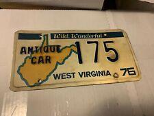 1976 West Virginia Antique License Plate Low # 175