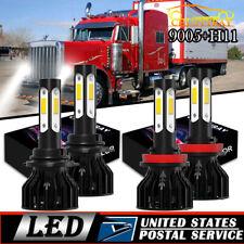 For Peterbilt 388 389 - 4x 4side White LED Headlight Conversion Kit Bulbs Hi/Lo