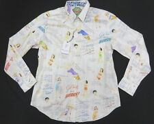 NWT Robert Graham Old Time Sayings & Women Pattern Button pin Up Shirt  Size M
