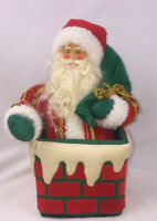 Sweet Vintage Wind Up Motion Santa Claus In Chimney Plush 🎅🏻 Musical