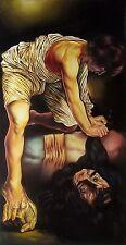 Original Art Painting Oil Canvas David & Goliath Cuban Art Cuba YOANDRIS PEREZ