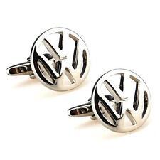 VW CUFFLINKS w GIFT BAG Silver Tone Volkswagen Car Emblem Logo Pair Metal Gift