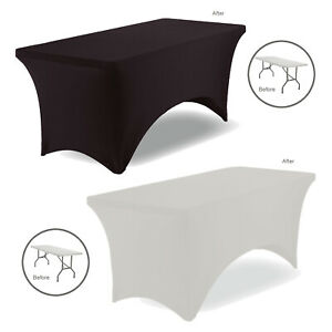 6FT Rectangular Tight Fit Table Cover Spandex Stretch Lycra Trestle Tablecloth