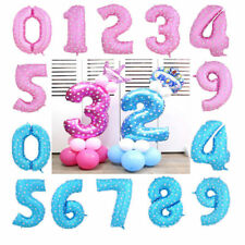 "1x 32"" Silver Blue Pink Foil Balloons Number Birthday Party Baby Kids Decoration"