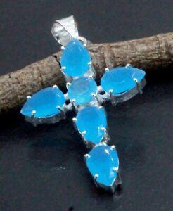 925 Sterling Silver Chalcedony Gemstone Handmade Jewelry Cross Pendant S-1.80''