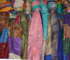 "10pc Wholesale Lot Kantha Silk Patchwork Stole Handmade Scarf Dupatta 18x72"" Inc"