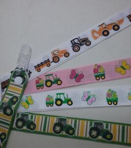 Mitten clips x 1 pr Tractor pattern ribbon glove savers boy girl girl kids farm