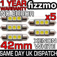 5x 42mm Targa Interno 6000k Luminoso Bianco 3 SMD LED C5w 264 Bulbo Festone