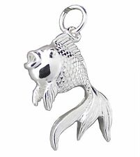 FISH PENDANT 925 Sterling SILVER 26mm Drop : Large tail Goldfish