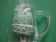 Personalised Freehand Engraved Pint Beer Glass Tankard Steam Train + Name FREE