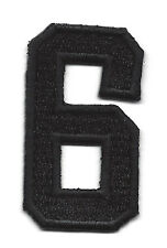 """NUMBERS  - Black Number """"6"""" (1 7/8"""") - Iron On Embroidered Applique/Numbers"""