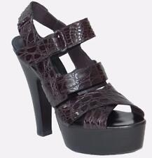 BOTTEGA VENETA genuine CROCODILE platform sandals 38/7.5 GLADIOL VIOLET NIB