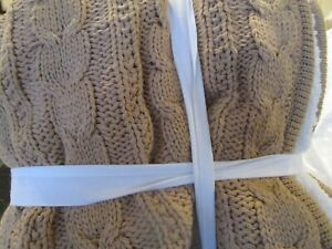 Pottery Barn Cozy THROW  sherpa cable knit  50 X 60 neutral  New w tag