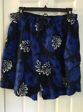 SPEEDO Swim Trunks Mens XL Board Short Cargo Pockets Blue White Hawaiian Print