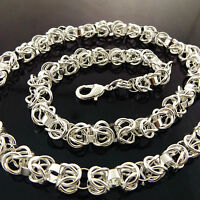 NECKLACE CHAIN GENUINE REAL 925 STERLING SILVER S/F SOLID UNISEX VINTAGE DESIGN