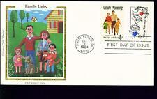 1984 FDC - Scott# 2104 COMBO - Family Unity - Colorano Silk Cachet   UA