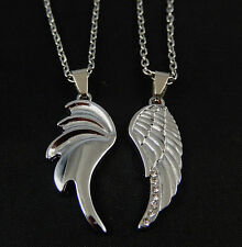2pcs Angel & Devil Wing Necklace Set Couples His Hers Friendship Pendant Jewelry