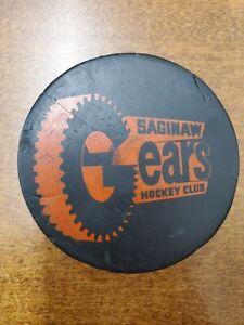 Vintage Saginaw Gears Hockey Puck IHL Used