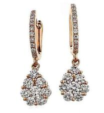 Diamond Drop Daisy Earrings 1.00ct F VS Brilliant Cut in 18ct Rose Gold