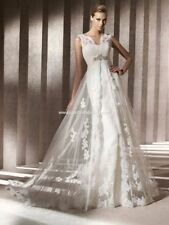 Boat Neck A-line Regular Size Cap Sleeve Wedding Dresses