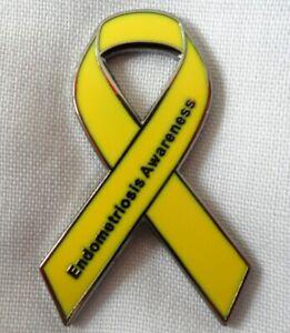 **NEW**  Endometriosis Yellow Awareness ribbon enamel badge / brooch. Charity.