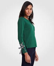 NWT Ann Taylor Tie Sleeve Sweatshirt $60 Size XS Green Eden 16
