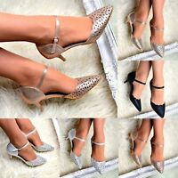 Womens Mid Heel Evening Court Shoes Ankle strap Party Pointed toe Sandals size
