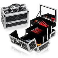 Shany Black Makeup Train Case with Mirror