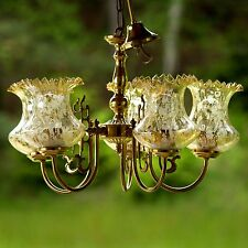 Goldene Vintage Hängelampe, Lampe Bernsteinglas Luster Leuchter GLAS MESSING