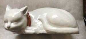 "Large Kutani White Porcelain Ceramic Sleeping Lucky Cat Maneki Neko Okimono 12"""
