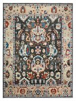 8 x 10 Hand Knotted Charcoal Ivory Tribal Sultanabad Wool Oriental Rug Carpet