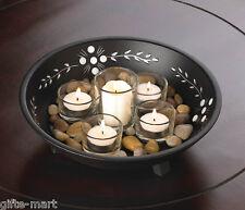 black wood votive candle holder african tribal decorative table centerpiece bowl
