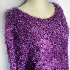 Bar III | Womens Size L Purple Soft Fuzzy Eyelash Scoop Neck Sweater Stretch