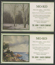 2 Different Mo-Ko Coffee The John Bauer Co Elmira Ny Antique Ink Blotter Unused
