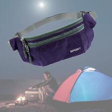 1x Waterproof Running Belt Bum Waist Zip Pouch Fanny Pack Sport Hiking Purple AF