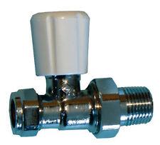 Radiator Valve 15mm Straight Union Type With Wheelhead & Lockshield Handles