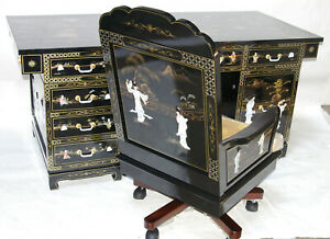 """Oriental furniture executive Desk Chinese 68"""" with black Lacquer"""