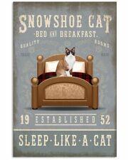 Sleep Like A Cat Snowshoe Cat Gifts Poster Art Wall Decor 11x17 16x24 24x36