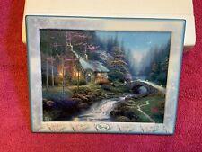 """New ListingThe Bradford Exchange Thomas Kinkade Porcelain Print-""""Twilight Cottage�W/Box&Coa"""