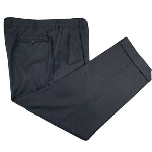 Mint ! Incotex 38 x 29 Flannel Weight Charcoal Grey Pleat Front Super 120's