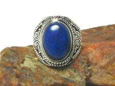 Blue Oval Lapis Lazuli  Sterling  Silver 925  Gemstone  Ring - (N)