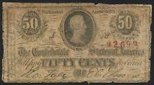 Cs-63 50¢ Note Bust Of Jefferson Davis In Ornate Oval Frame Blank Reverse Au438